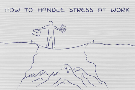 dangerous cliff: how to handle stress at work: businessman holding business plan and bag tight rope walking over a dangerous cliff