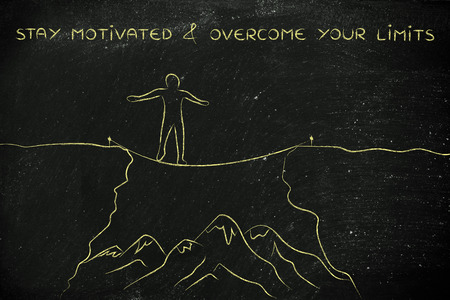 successfully: stay motivated & overcome your limits: man successfully tight rope walking over a dangerous cliff
