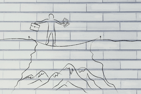 dangerous cliff: businessman holding business plan and bag tight rope walking over a dangerous cliff