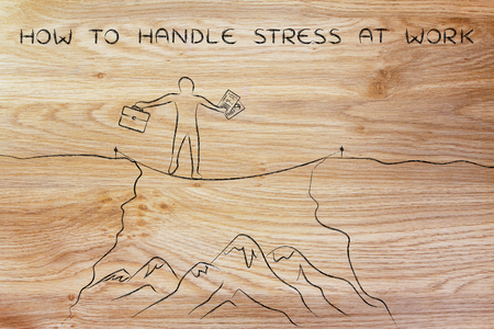 tight: how to handle stress at work: businessman holding business plan and bag tight rope walking over a dangerous cliff