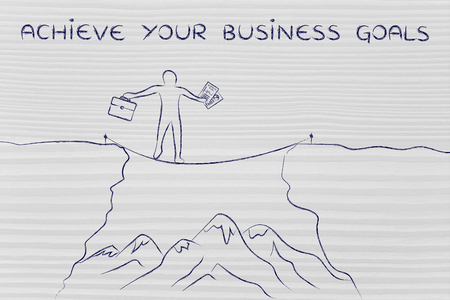 dangerous cliff: achieve your business goals: businessman holding business plan and bag tight rope walking over a dangerous cliff