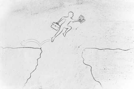 successfully: businessman successfully jumpying over a cliff holding business plan and laptop bag Stock Photo