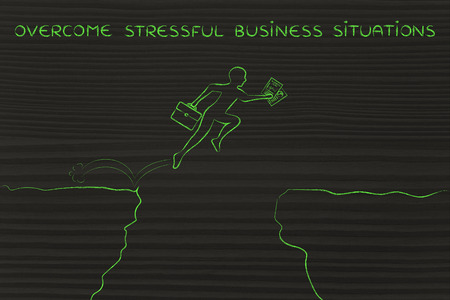 overcome: overcome stressful business situations: businessman jumpying over a cliff holding business plan and laptop bag