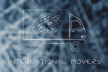 moving company: international movers: moving company truck with five star sign & text The Best