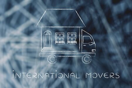 moving company: international movers: house traveling on moving company truck, funny metaphor Stock Photo