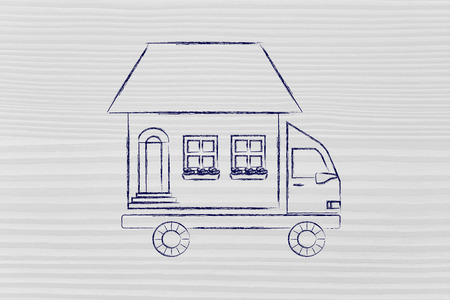 moving company: house traveling on moving company truck, funny metaphor