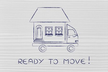 moving company: ready to move: house traveling on moving company truck, funny metaphor