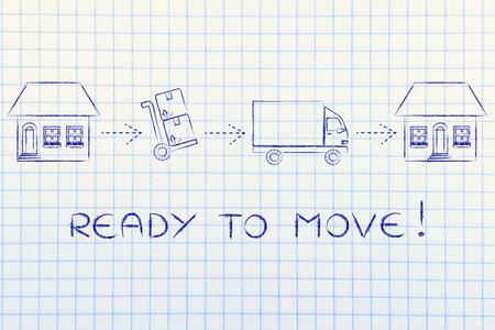 移動する準備ができている: 新しい家でそれらを提供する引っ越しのため古い家から梱包箱