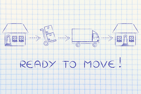 Prêt à se déplacer: les boîtes d'emballage de la vieille maison pour les déménageurs de les livrer à la nouvelle maison Banque d'images - 54748674