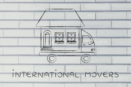 moving truck: international movers: house traveling on moving company truck, funny metaphor Stock Photo