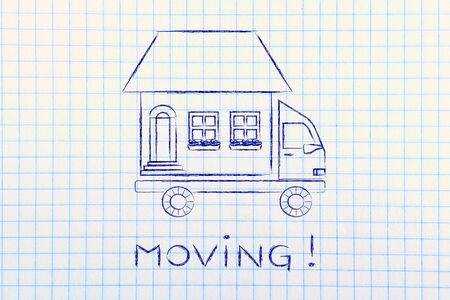 moving truck: moving: house traveling on moving company truck, funny metaphor Stock Photo