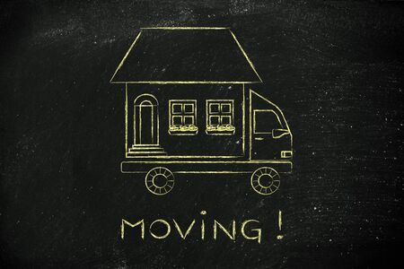 moving company: moving: house traveling on moving company truck, funny metaphor Stock Photo