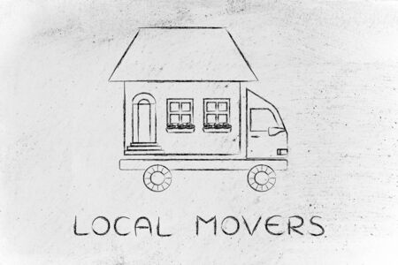 moving truck: local movers: house traveling on moving company truck, funny metaphor Stock Photo