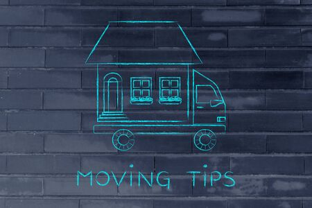 moving truck: moving tips: house traveling on moving company truck, funny metaphor