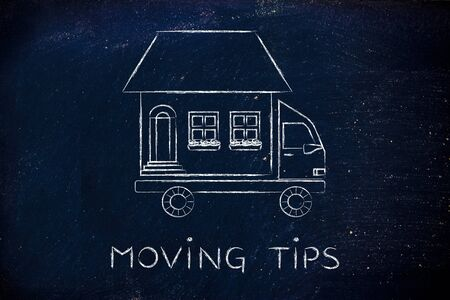 moving company: moving tips: house traveling on moving company truck, funny metaphor