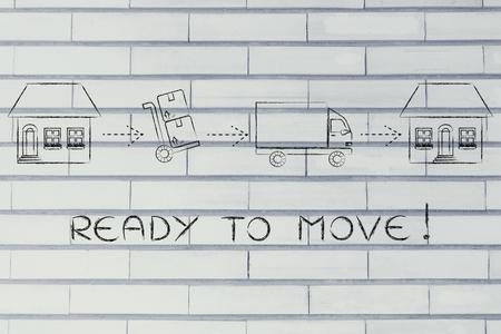 Prêt à se déplacer: les boîtes d'emballage de la vieille maison pour les déménageurs de les livrer à la nouvelle maison Banque d'images - 54774732
