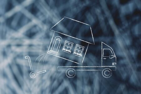 moving company: loading an entire house on moving company truck, funny metaphor Stock Photo