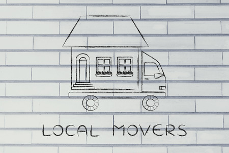 moving company: local movers: house traveling on moving company truck, funny metaphor Stock Photo