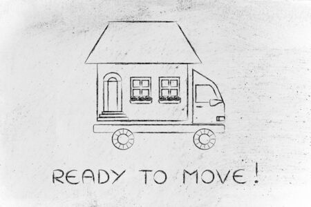 building sector: ready to move: house traveling on moving company truck, funny metaphor