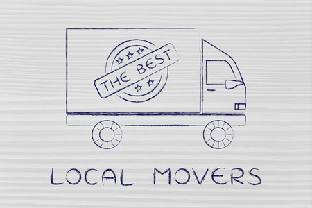 moving company: local movers: moving company truck with five star sign & text The Best