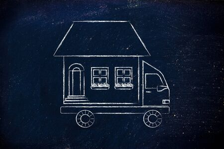 moving truck: house traveling on moving company truck, funny metaphor