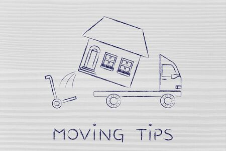 moving company: moving tips: loading an entire house on moving company truck, funny metaphor Stock Photo