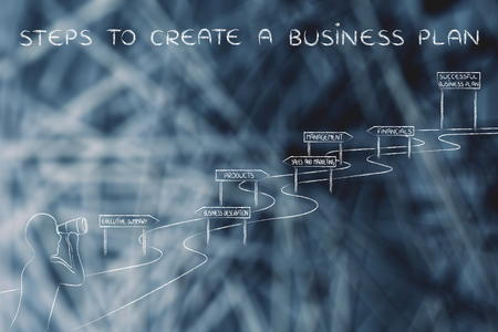 establish: steps to create a business plan: entrepreneur looking through binoculars at the way to establish his own business successfully