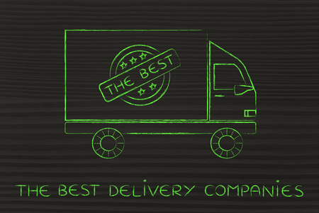 The best delivery companies: truck vehicle with 5 stars feedback