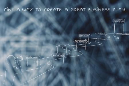 establish: find a way to create a great business plan: entrepreneur looking through binoculars at the way to establish his own business successfully