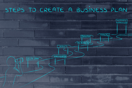 successfully: steps to create a business plan: entrepreneur looking through binoculars at the way to establish his own business successfully