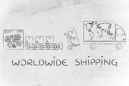 processing speed: worldwide shipping: factory machine processing items into parcels ready to be sent & delivery company truck with world map Stock Photo