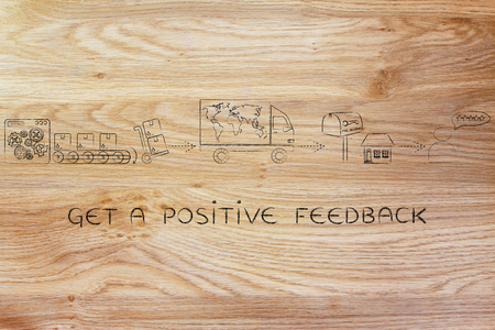 processing speed: get a positive feedback: parcels journey from factory machines to delivery truck to recipients house