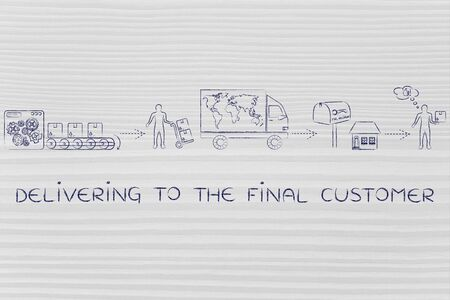 happy client: delivering to the final customer: parcels journey from factory machines to its desitnation, with shipping company man and happy client Stock Photo