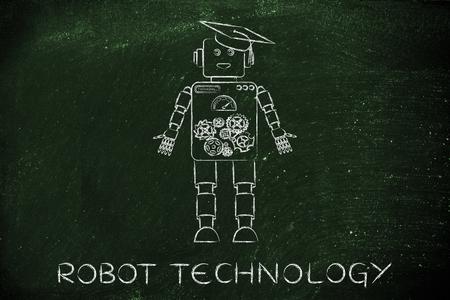 inteligencia: la tecnología de robots: divertido robot con el sombrero de la graduación, el concepto de la inteligencia artificial
