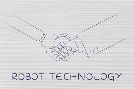 inteligencia: la tecnología de robots: el hombre y robot estrechar la mano, el concepto de la innovación para ayudar con las tareas Vaus