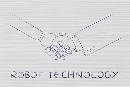 artificial intelligence: robot technology: man and robot shaking hands, concept of innovation to help with various tasks