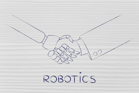 robotics: man and robot shaking hands, concept of innovation to help with various tasks