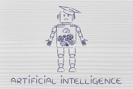 artificial intelligence: artificial intelligence: funny robot with graduation hat, concept of machine learning Stock Photo