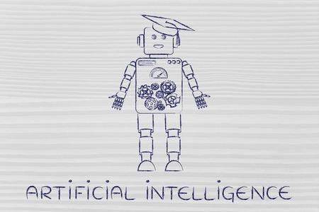 inteligencia: la inteligencia artificial: divertido robot con el sombrero de la graduación, el concepto de aprendizaje automático Foto de archivo