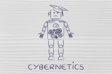 cybernetics: cybernetics: funny robot with graduation hat, concept of artificial intelligence
