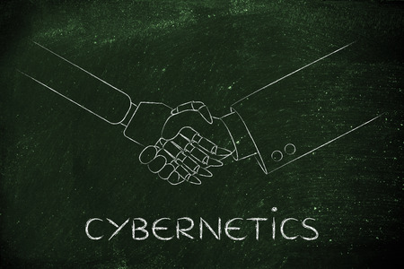 cybernetics: cybernetics: man and robot shaking hands, concept of innovation to help with various tasks
