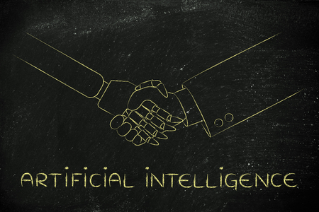 artificial intelligence: artificial intelligence: man and robot shaking hands, concept of innovation to help with various tasks