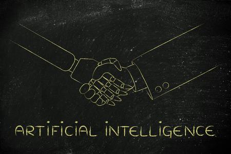 inteligencia: la inteligencia artificial: el hombre y el robot estrechar la mano, el concepto de la innovaci�n para ayudar con las tareas Vaus