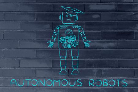 autonomous: autonomous robots: funny robot with graduation hat, concept of artificial intelligence