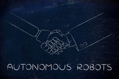 autonomous robot: man and robot shaking hands, concept of innovation to help with various tasks