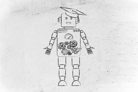 artificial intelligence: funny robot with graduation hat, concept of artificial intelligence