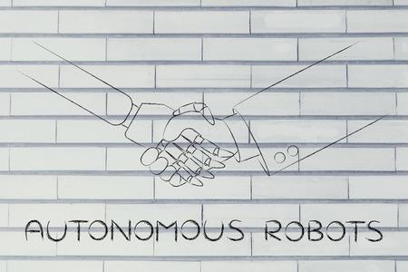 autonomous: autonomous robot: man and robot shaking hands, concept of innovation to help with various tasks