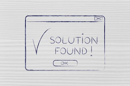 popup: pop-up with message Solution Found and tick, flact chalk outline illustration Stock Photo
