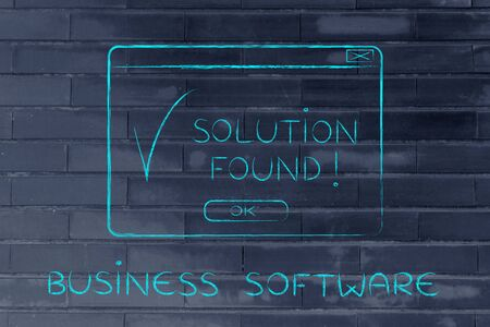 popup: business software: pop-up with message Solution Found and tick, flact chalk outline illustration Stock Photo
