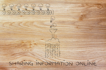 sharing information: sharing information online: machine processing ideas and knowledge into data to be spread around, with production line, funnel and cloud
